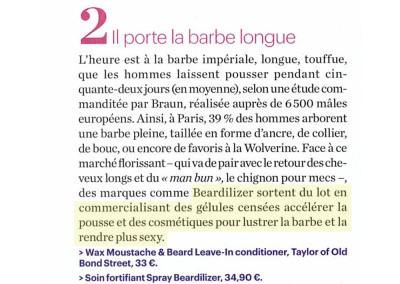 Le Parisien Magazine – Plaisirs Beauté – Beardilizer Spray